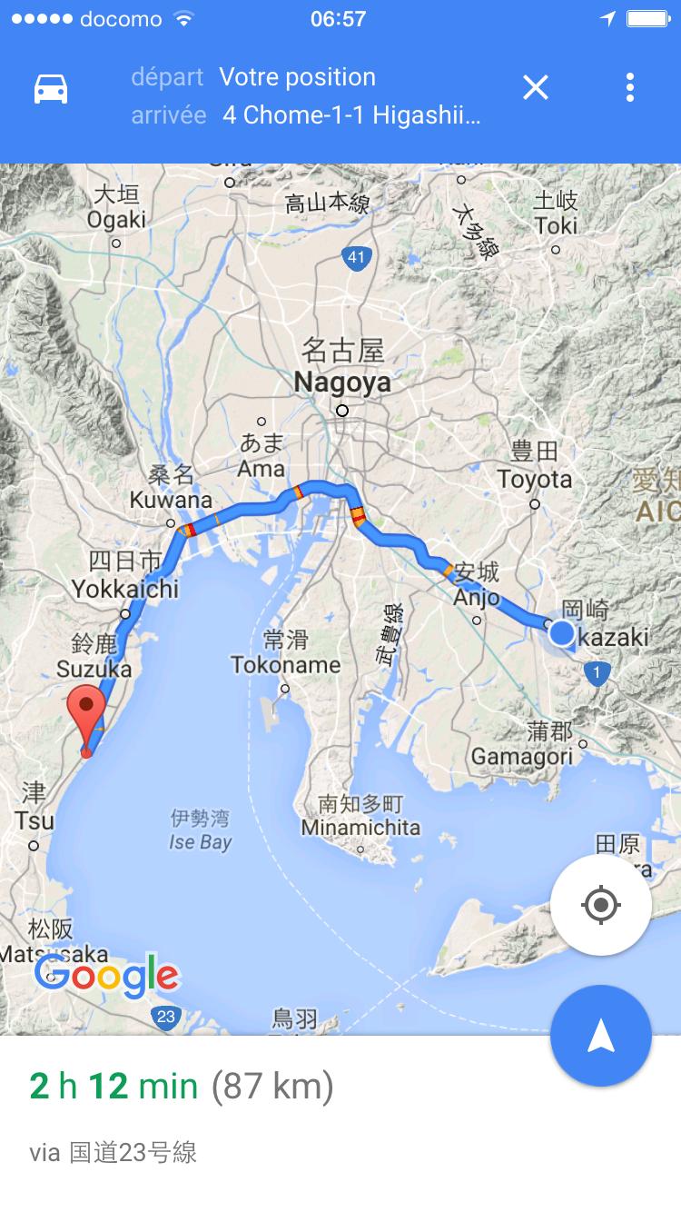 21/9/2015:Direction Suzuka 90 km de prévu