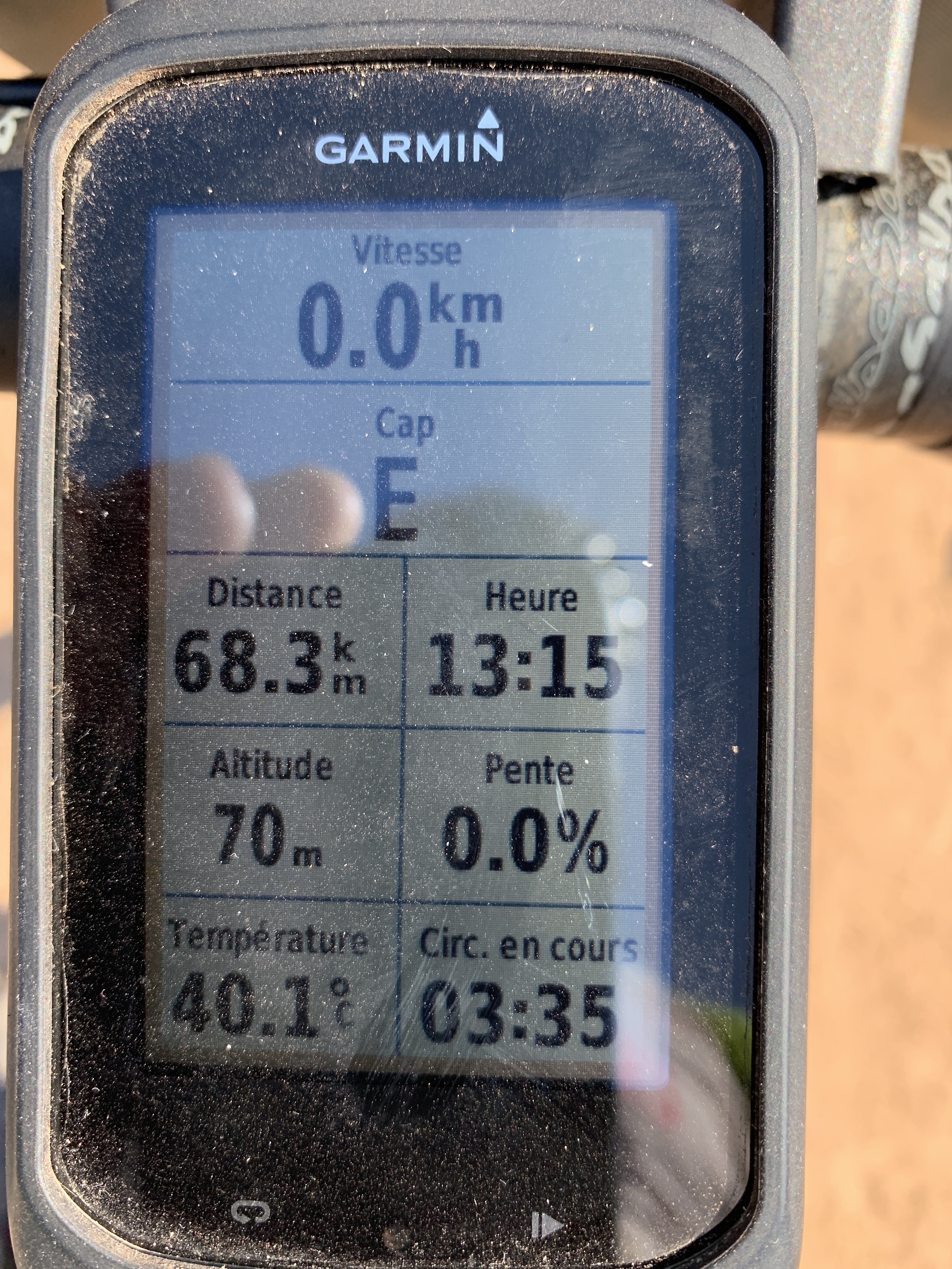 110 km à l'est chaleur toujours aussi torride.